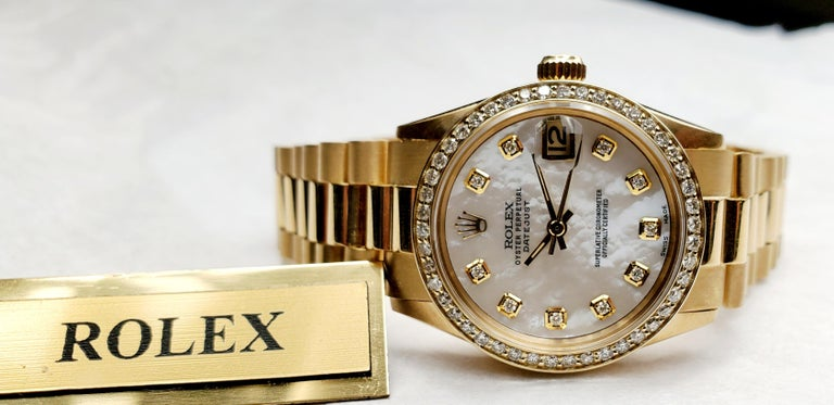 Round Cut Rolex Midsize Presidential 18 Karat Yellow, Mother of Pearl Diamond Dial, Bezel For Sale