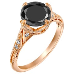 3.2 Carat 14 Karat Rose Gold Certified Round Black Diamond Ring