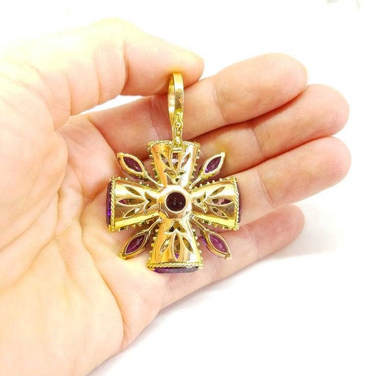 32+ Carat Amethyst Tsavorite Diamond Maltese Cross Large Enhancer Pendant 18KY For Sale 4