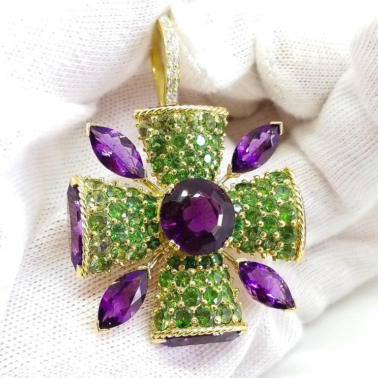 32+ Carat Amethyst Tsavorite Diamond Maltese Cross Large Enhancer Pendant 18KY For Sale 7