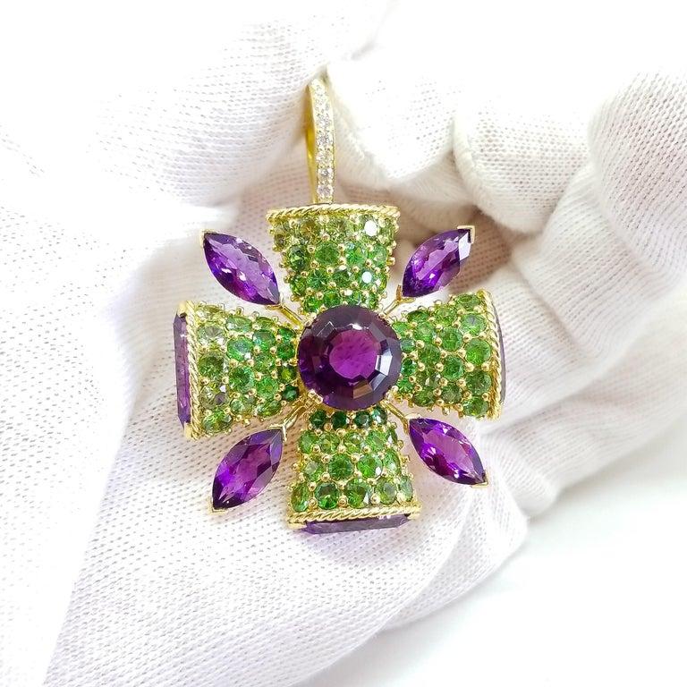 32+ Carat Amethyst Tsavorite Diamond Maltese Cross Large Enhancer Pendant 18KY For Sale 8