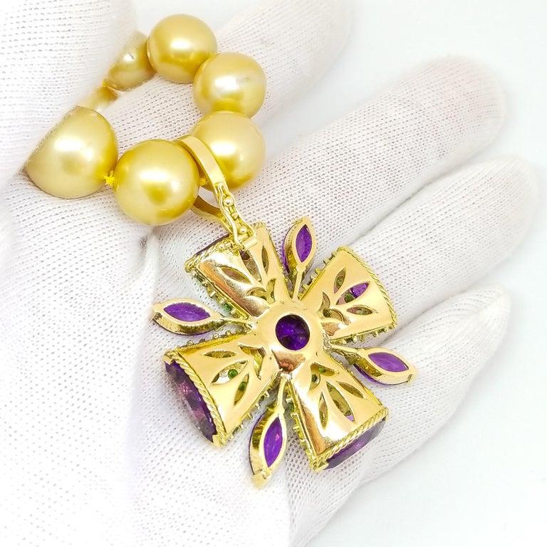 32+ Carat Amethyst Tsavorite Diamond Maltese Cross Large Enhancer Pendant 18KY For Sale 9