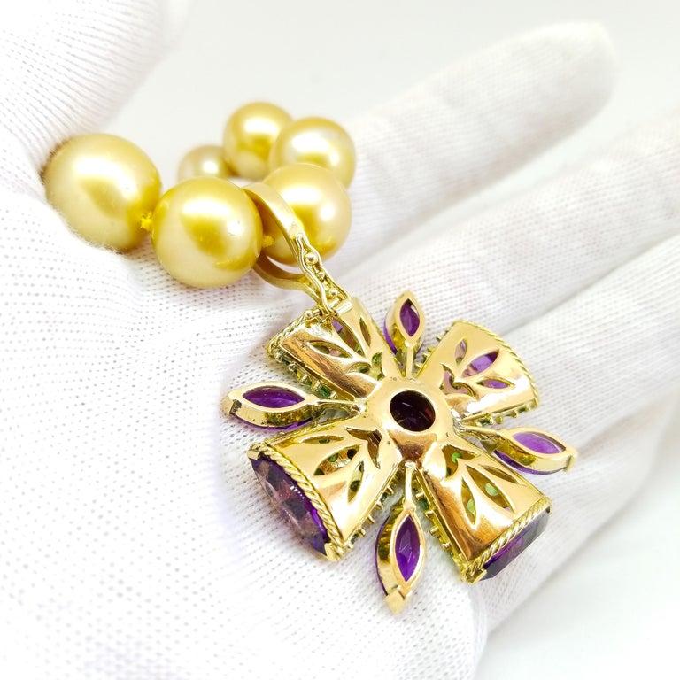 32+ Carat Amethyst Tsavorite Diamond Maltese Cross Large Enhancer Pendant 18KY For Sale 10