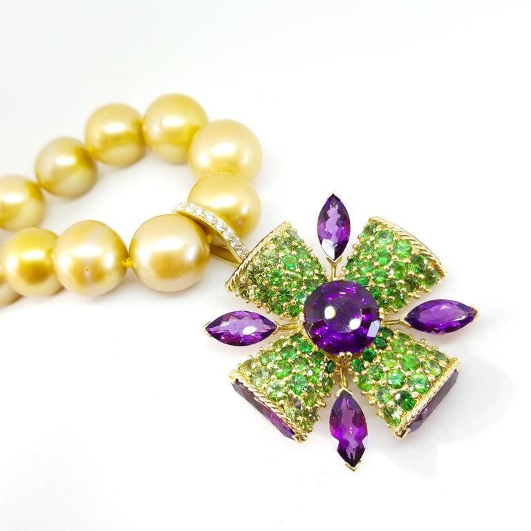 32+ Carat Amethyst Tsavorite Diamond Maltese Cross Large Enhancer Pendant 18KY For Sale 12