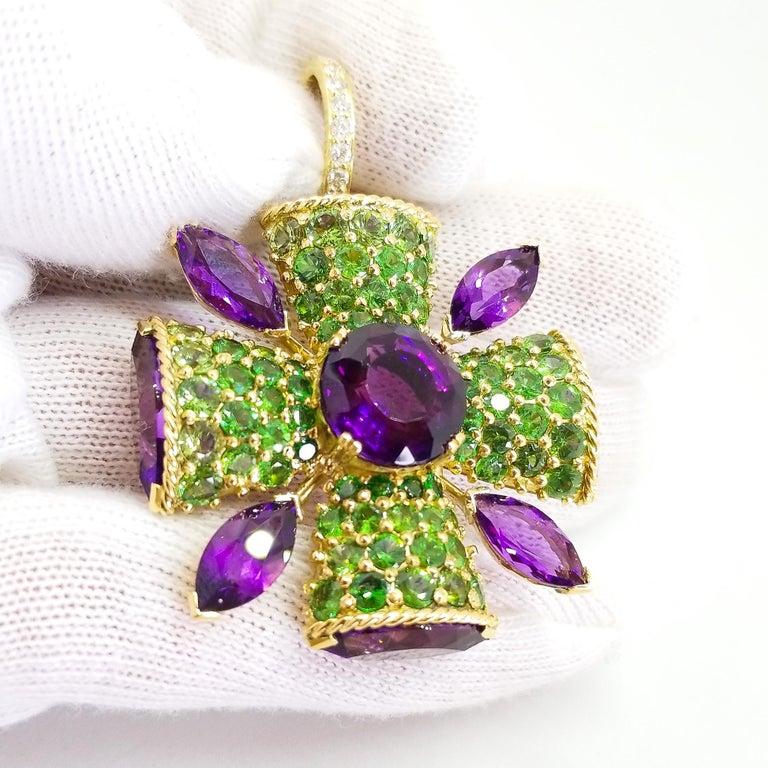 32+ Carat Amethyst Tsavorite Diamond Maltese Cross Large Enhancer Pendant 18KY For Sale 13