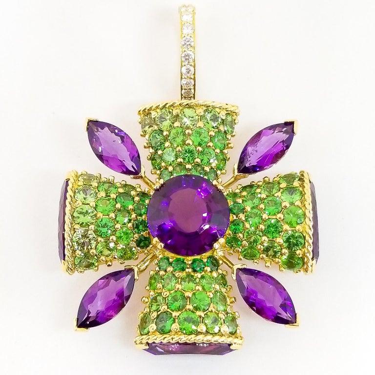 32+ Carat Amethyst Tsavorite Diamond Maltese Cross Large Enhancer Pendant 18KY For Sale 14