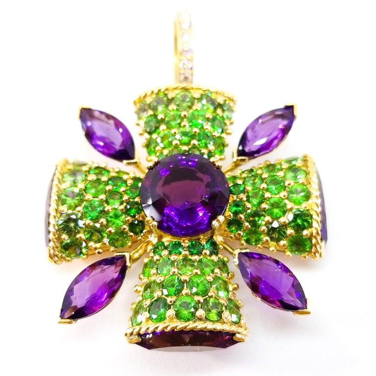 32+ Carat Amethyst Tsavorite Diamond Maltese Cross Large Enhancer Pendant 18KY In New Condition For Sale In Lambertville , NJ