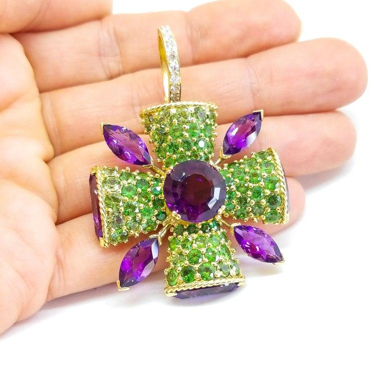 Women's or Men's 32+ Carat Amethyst Tsavorite Diamond Maltese Cross Large Enhancer Pendant 18KY For Sale