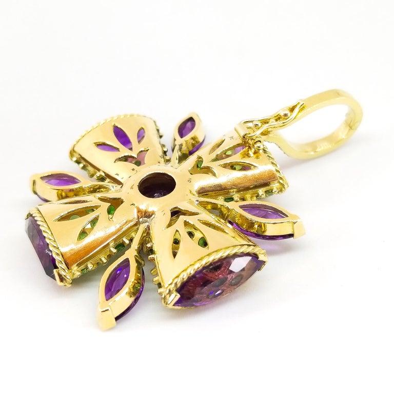32+ Carat Amethyst Tsavorite Diamond Maltese Cross Large Enhancer Pendant 18KY For Sale 1