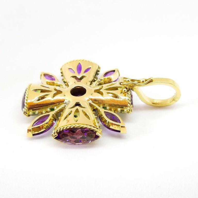 32+ Carat Amethyst Tsavorite Diamond Maltese Cross Large Enhancer Pendant 18KY For Sale 3
