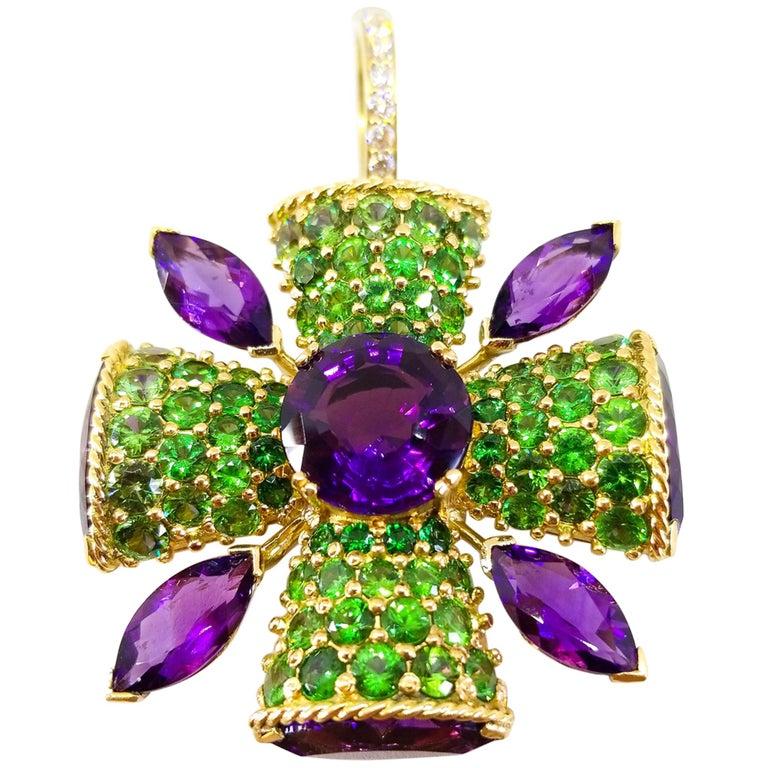 32+ Carat Amethyst Tsavorite Diamond Maltese Cross Large Enhancer Pendant 18KY For Sale