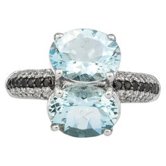 3.2 Carat Aquamarine and Diamond Ring in 14 Karat White Gold
