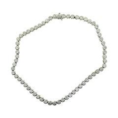 32 Carat Diamond Bezel Tennis Link Necklace in White Gold