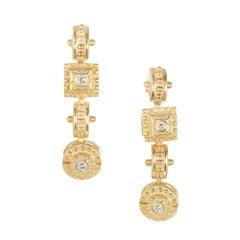 .32 Carat Diamond Yellow Gold Etruscan Dangle Earrings