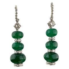 32 Carat Emerald Beads Dangle Earrings