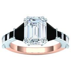 3.2 Carat Emerald Cut Diamond and Black Diamond Engagement Ring