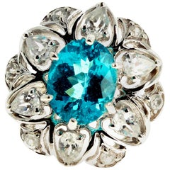 3.2 Carat Natural Blue Zircon and White Zircon Ring