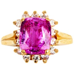 3.2 Carat Pink Sapphire and Diamonds Gold Ring