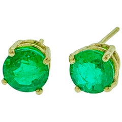 3.2 Carat Round Colombian Emerald Stud Post Earrings 14 Karat Yellow Gold