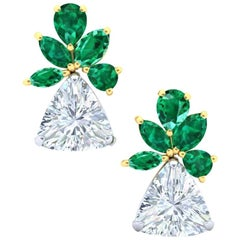 3.2 Carat Trillion Triangular Diamond and Emerald Yellow and White Gold Earrings