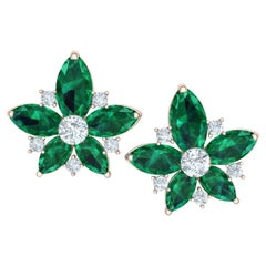 3.2 Carat Emerald and Diamond Cluster Earrings Set in Rose and White Gold