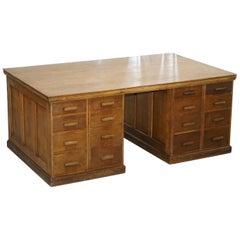 32 Drawers Double Sided Twin Pedestal Oak Partners Desk Haberdashery Edwardian