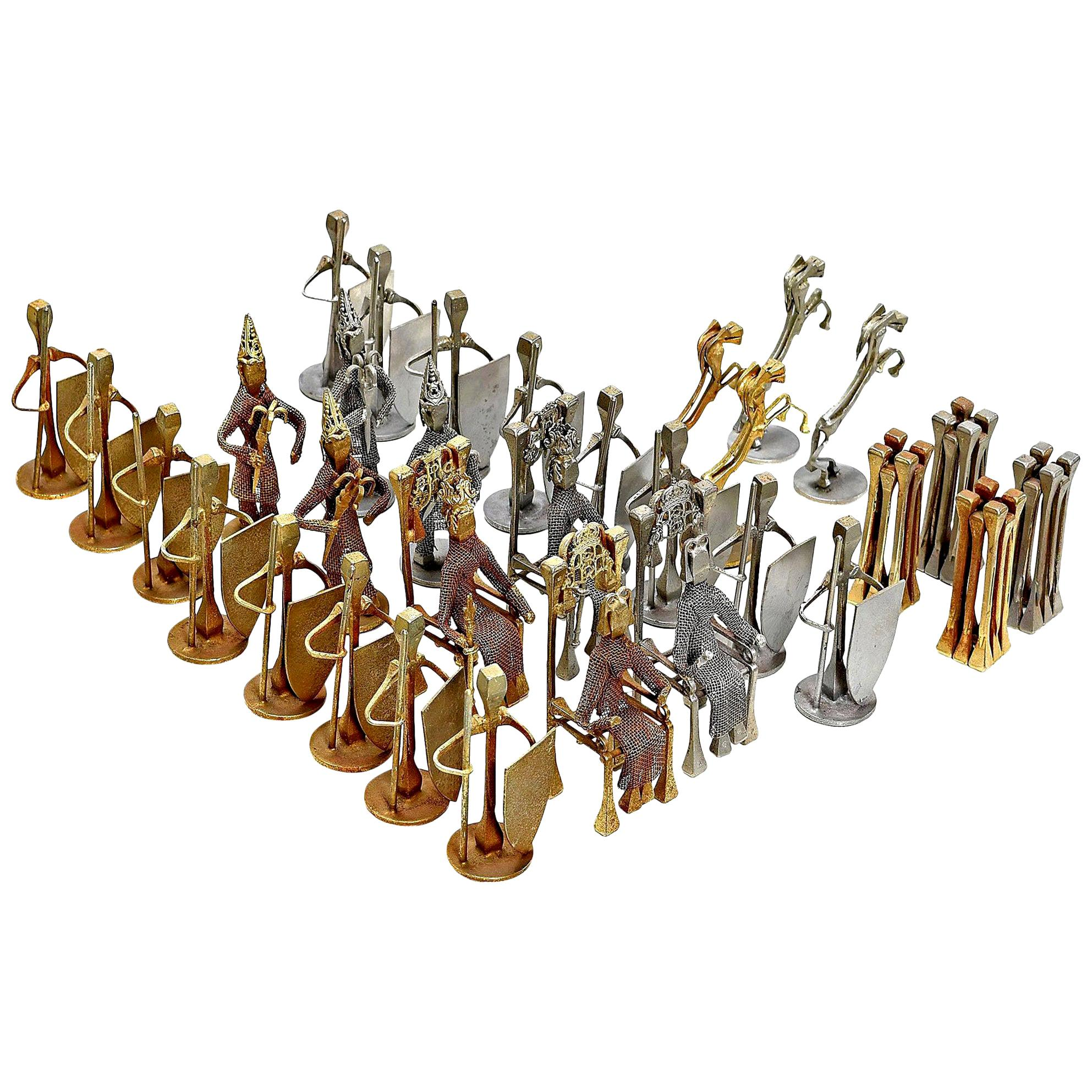 32-Piece Chess Set, Brutalist Style Handcrafted Steel Nail Silver and Bronze