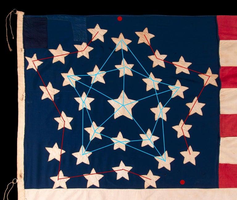 Antique American Flag, 32 Stars, Minnesota Statehood, ca 1858-59 For Sale 2