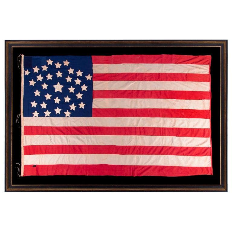 Antique American Flag, 32 Stars, Minnesota Statehood, ca 1858-59 For Sale