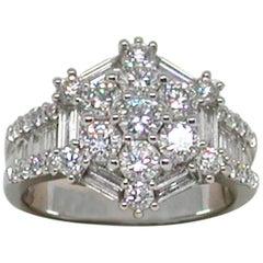 3.20 Carat 18 Karat White Gold Diamond Ring