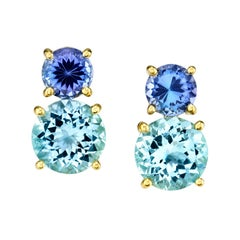 3.20 Carat Aquamarine and 1.37 Carat Tanzanite 18 Karat Yellow Gold Earrings