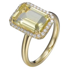 3.20 Carat Claw Set Sterling Silver Ring Lemon Citrine Halo Yellow Gold Plate