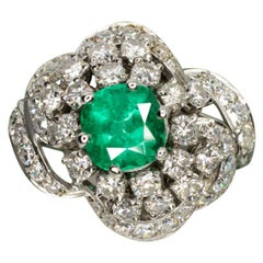 3.20 Carat Colombian Emerald F-H Vs Diamond Ring Vintage Platinum Art Deco