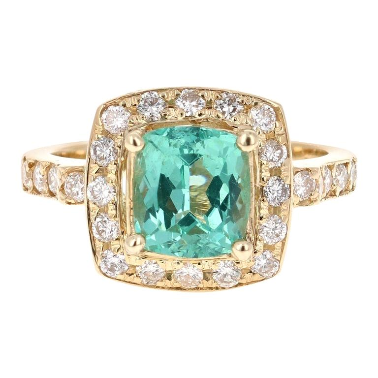 3.20 Carat Cushion Cut Apatite Diamond 14 Karat Yellow Gold Engagement Ring