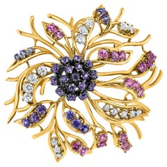 3.20 Carat Diamond and Pink Purple Sapphire Flower Brooch in 18K Yellow Gold