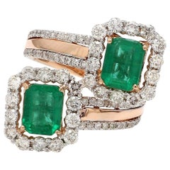 3.20 Carat Emerald Diamond 18 Karat Rose Gold Wrap Ring