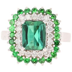 3.20 Carat Green Tourmaline Diamond 18 Karat White Gold Engagement Ring