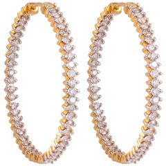 3.20 Carat Inside Out Diamond 18 Karat Yellow Gold Hoop Earrings