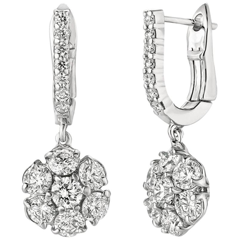 3.20 Carat Natural Diamond Flower Drop Earrings G SI 14 Karat White Gold