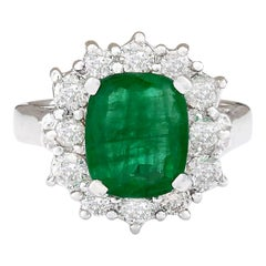 3.20 Carat Natural Emerald 18 Karat White Gold Diamond Ring