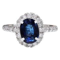 3.20 Carat Natural Sapphire 18 Karat Solid White Gold Diamond Ring