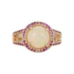 3.20 Carat Opal Pink Sapphire 0.64 Carat Diamond Fashion Ring 14k Yellow Gold