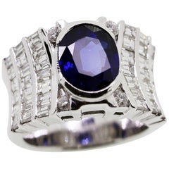 3.20 Carat Oval Sapphire and White Diamonds Cocktail Ring