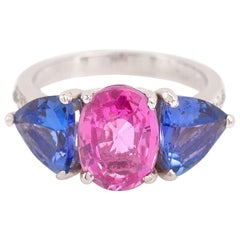 3.20 Carat Pink Sapphire 3 Carat Tanzanites Diamonds 18 Carat White Gold Ring