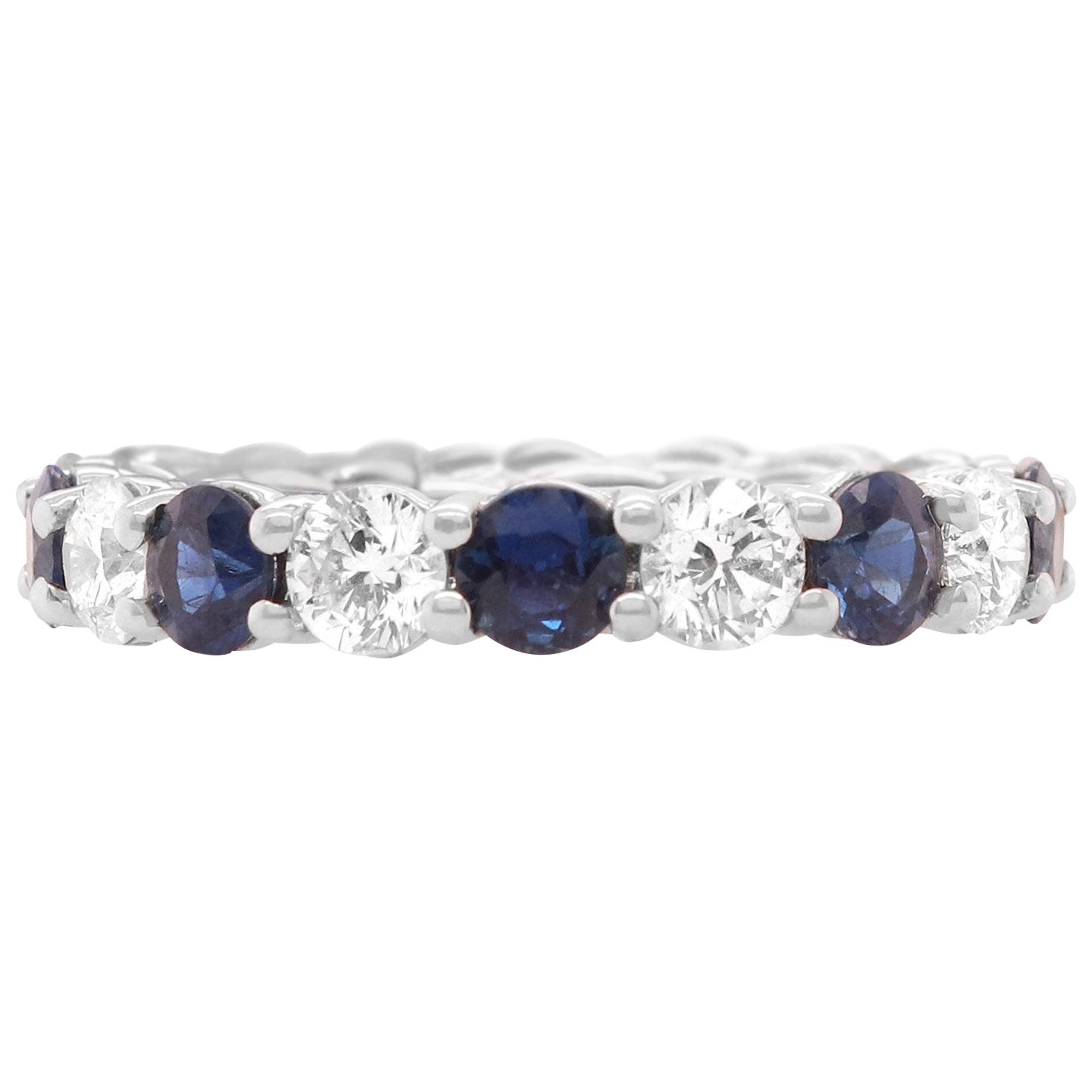 Round Blue Sapphire Diamond Eternity Band Ring 18K White Gold Size 5.75