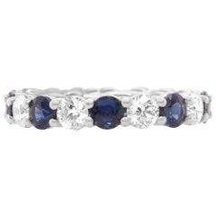 3.20 Carat Round Blue Sapphire and 2.25 Ct Diamond Eternity Ring 18K White Gold