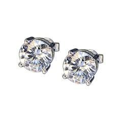 3.20 Carat Round Cut Diamond Stud Earrings Platinum
