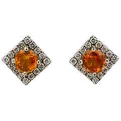 3.20 Carat Round Gold Sapphires .64 Carat Diamonds 18 Karat White Gold Earrings