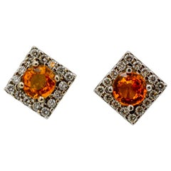 3.20 Carat Round Gold Sapphires .64 Carat Diamonds 18 Karat White Gold Earrings