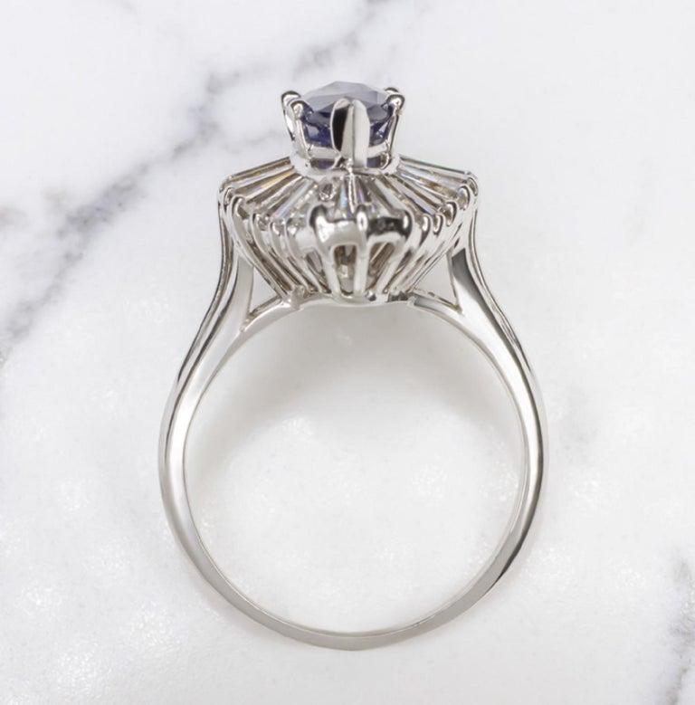 Marquise Cut 3.20 Carat Royal Blue Sapphire Diamond Halo Cocktail Carat Ring VVS E/G